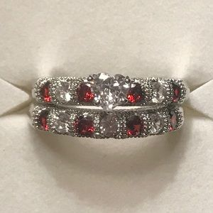 Sterling silver white sapphire/ruby wed set 8.75